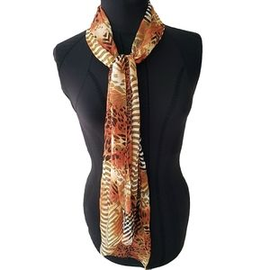 Chico's Animal Print Hand-rolled Silk Scarf